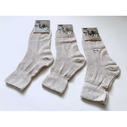 Носки женские ШАГ+ лиля ослабленная резинка 100% лен Ж07